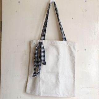 Gingham ribbon tote bag with zippers