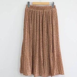 🚚 腰圍鬆緊 滿版點點壓摺長裙