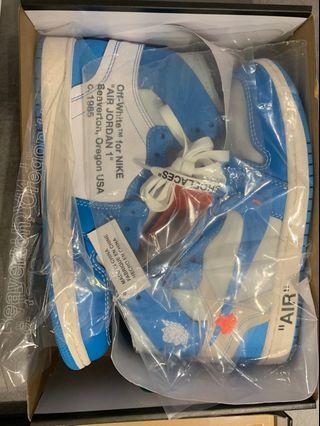 🚚 Nike off white 'UNC' Air Jordan 1 US 8.5
