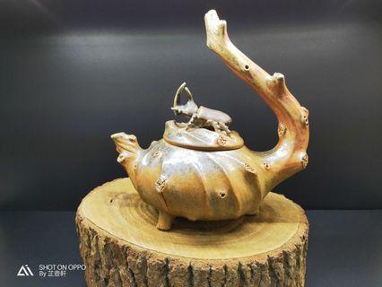 🚚 台灣柴燒壺、獨角仙樹瘤飛把壺、羅石製