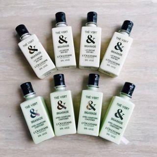 🚚 L'OCCITANE歐舒丹-綠茶+苦橙-乳液/潤髮八件組