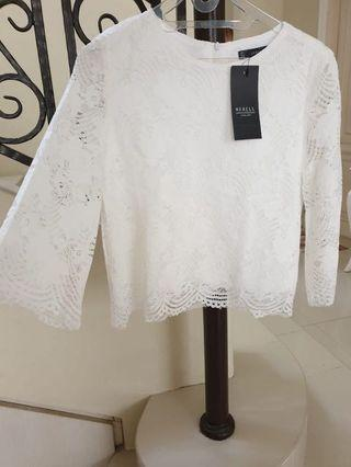 **NEW** White Lacey Top Brukat Halus