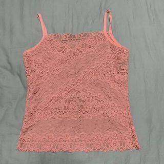 Pink Laced V-cut Top
