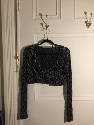 Polka dot long sleeve cropped blouse