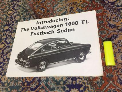 Vintage VOLKSWAGEN 1600 TL FASTBACK Car Original Sales Brochure 1965