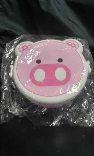 可愛豬頭型餐盒連匙羹