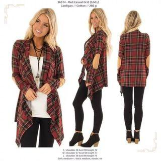Cardigan 36914 - Red Casual Grid