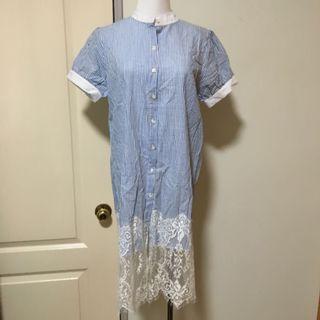 🚚 條紋拼接蕾絲洋裝