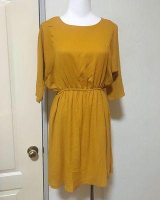 🚚 芥末黃縮腰洋裝