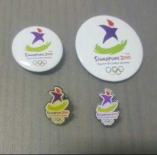 Singapore 2010 Youth Olympic  - Collar Pin / Button Badges