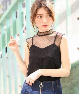 💖日系💖透視波點背心上衣 黑色背心 japAn fashion lace top polka dot top dotty top see through lace singlet top lace blouse