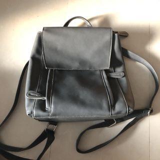 2 way grey leather bag