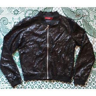RedTag Black Sequinned Bomber Jacket