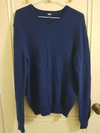 全新❤UNIQLO 深藍色100%羊毛毛衣