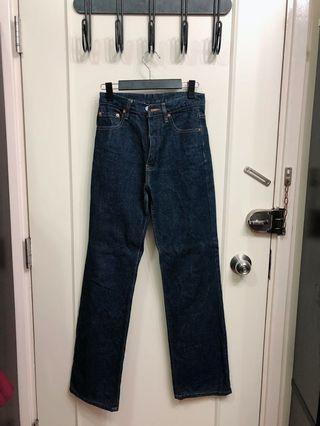 深藍色牛仔褲26吋腰全長42吋