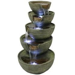 Flowing Tiered Artisan Bowls Outdoor Water Fountain with LED Lights,