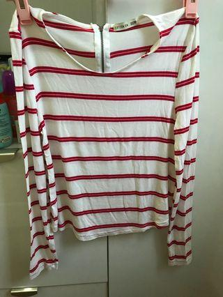 cotton on red striped long sleeve
