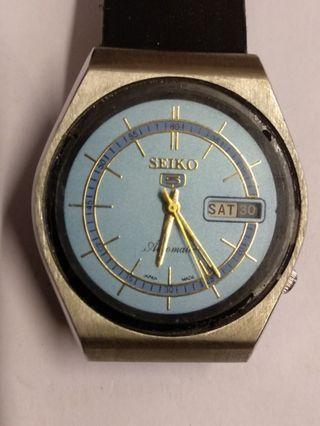 精工自動日曆男裝手表,淺藍表面,行走正常,35mm,品相如圖。