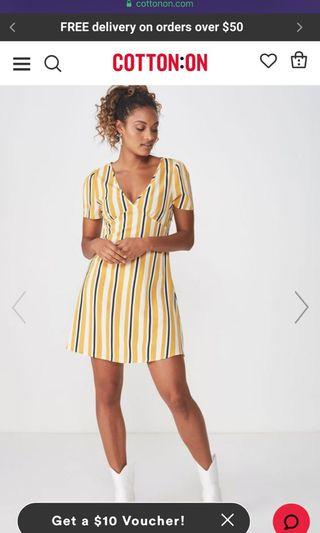 🚚 Woven Dotti Deep V Puff Sleeve Mini Dress