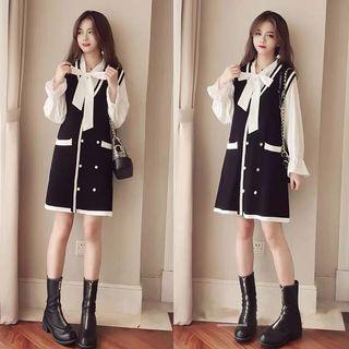 🚚 韓版氣質女裝O L兩件式套裝長袖針織裙背心裙洋裝