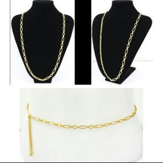 Two Way Use Gold Plated Chain.. accessories.   For Necklace/ Waist Chain..  From Japan..  For size refer to photo..