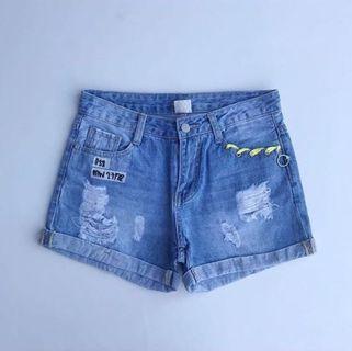 Mid Waist Denim Shorts