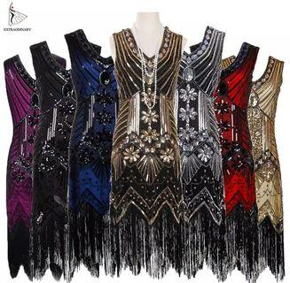 ea1d4f5b05 (PO) S-XXL Women 1920 s Vintage Great Gatsby Dress Sequins Dress V