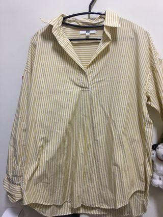 UNIQLO 黃色條紋襯衫
