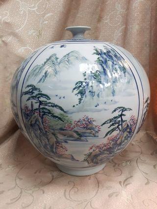 金窯燒 古董 花瓶 窄口花瓶 藝術 花瓶 山水國畫