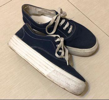 River Island Shoes Thick Sole Sneaker Blue Canvas