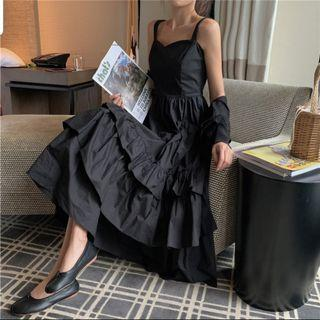 🚚 Eleane Ruffled Black Maxi Dress