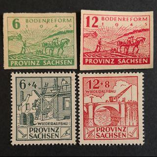Germany - Russian Zone: Saxony Province 1945. Saxony Land Reform complete imperforated set. 1946 Reconstruction short set.