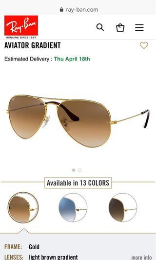 Ray Ban Aviators light brown gradient/ gold frames