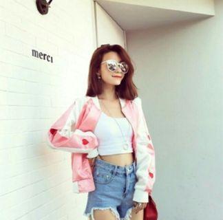 🚚 【全新】少女愛心棒球絲綢棒球休閒粉紅外套