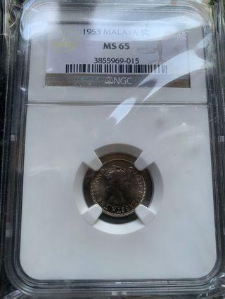 Malaya Queen 1953 5cents NGC MS65
