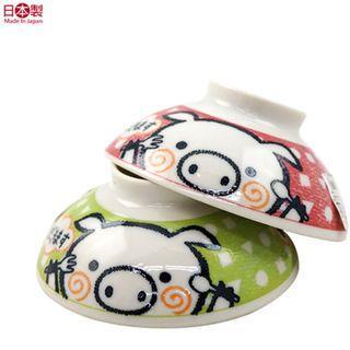日本製 兒童用小豬陶瓷碗