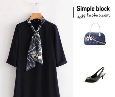 BrandNew dark blue dress Lsize