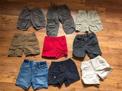 Bundled of 9 branded boy shorts (6 mths to 2 yrs)