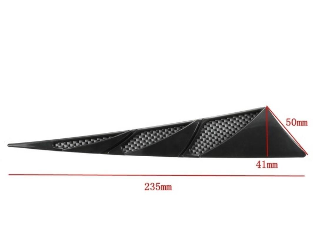 1 Pair Universal Car Decorative Air Intake Side Flow Hood Vent Cover 3D Sticker Colors:Black/Chrome