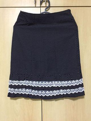 🚚 Navy Blue Polka Dots Skirt with Bottom Lace