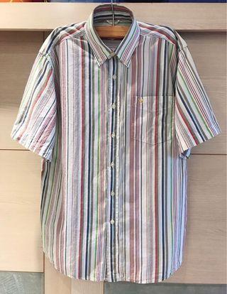 🚚 正品 美國老鷹🦅 AMERICAN EAGLE 鈕釦領條紋短袖襯衫(男)