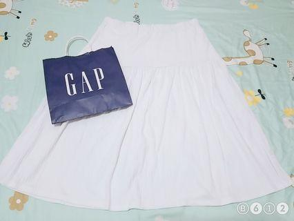 GAP白色傘裙【麻棉】