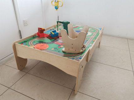 🚚 FREE GIVEAWAY Wooden Toy Train Play Table for Kids