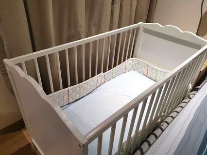 Pre-loved IKEA Baby Cot + Mattress + Bumper