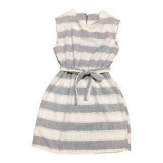 灰白條紋洋裝 Dress