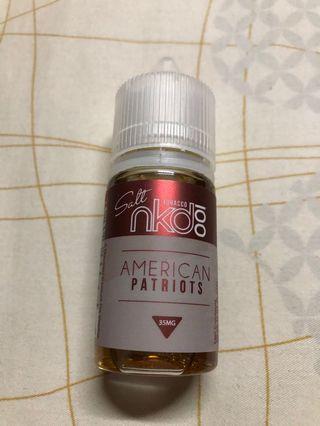 American Patriots NKD 35mg Salt Nic 30ml swap with any pod