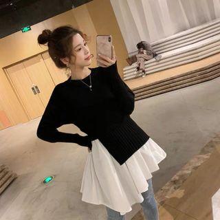 🚚 韓版氣質不規則假兩件連身裙洋裝