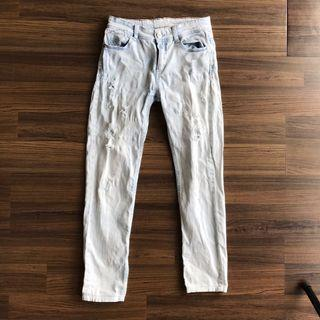 Stradivarius White Ripped Jeans
