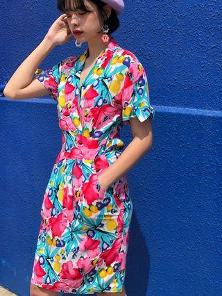 🚚 Vintage 1980s cotton rayon bold floral indie slouch dress