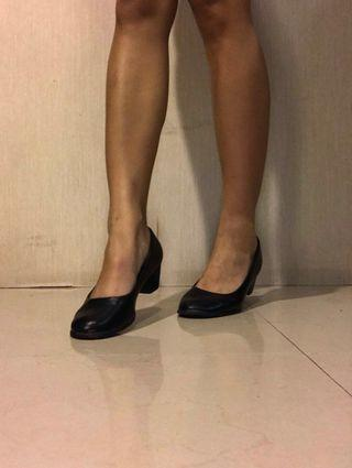 Black Leather Formal Heels